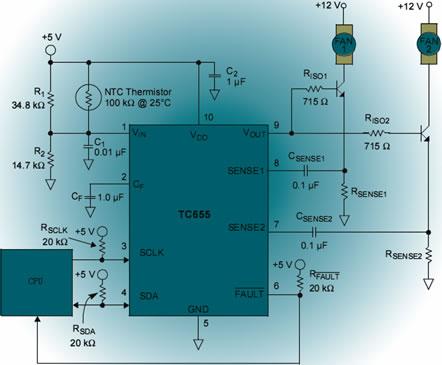 杂志                本风扇矩阵单元的硬件电路主要由三个tc655芯片